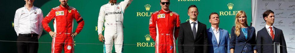 The Podium : Third Place Kimi Räikkönen (Scuderia Ferrari), Race Winner Lews Hamilton (Merceds AMG F1 Team) and Second Place Sebastian Vettel (Scuderia Ferrari)