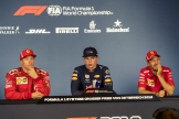 The Press Conference : Second Place Kimi Räikkönen (Scuderia Ferrari), Race Winner Max Verstappen (Red Bull Racing) and Third Place Sebastian Vettel (Scuderia Ferrari)