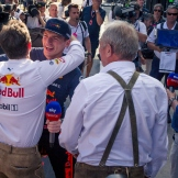 Max Verstappen (Red Bull Racing) Celebrating His Victory with Christian Horner (Red Bull Racing)