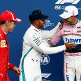 The Top Three Qualifiers : Second Place Sebastian Vettel (Scuderia Ferrari), Pole Position Lewis Hamilton (Mercedes AMG F1 Team) and Third Place Esteban Ocon (Racing Point Force India F1 Team)
