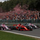 Esteban Ocon (Racing Point Force India F1 Team, VJM11), Sebastian Vettel (Scuderia Ferrari, SF71H), Lewis Hamilton (Mercedes AMG F1 Team, F1 W09 EQ Power) and Sergio Pérez (Racing Point Force India F1 Team, VJM11)