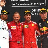 The Podium : Second Place Lewis Hamilton (Mercedes AMG F1 Team), Race Winner Sebastian Vettel (Scuderia Ferrari) and Third Place Max Verstappen (Red Bull Racing)