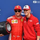 Kimi Räikkönen (Scuderia Ferrari) and Mick Schumacher