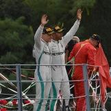 The Podium : Third Place Valtteri Bottas (Mercedes AMG F1 Team), Race Winner Lewis Hamilton (Mercedes AMG F1 Team) and Second Place Kimi Räikkönen (Scuderia Ferrari)