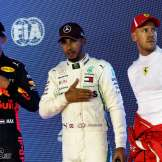 The Top Three Qualifiers : Second Place Max Verstappen (Red Bull Racing), Pole Position Lewis Hamilton (Mercedes AMG F1 Team) and Third Place Sebastian Vettel (Scuderia Ferrari)