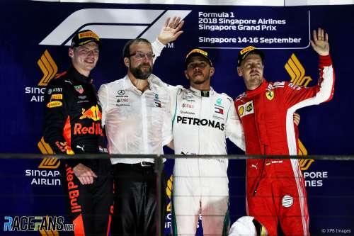The Podium : Second Place Max Verstappen (Red Bull Racing), Race Winner Lewis Hamilton (Mercedes AMG F1 Team) and Third Place Sebastian Vettel (Scuderia Ferrari)