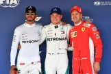 The Top Three Qualifiers : Second Place Lewis Hamilton (Mercedes AMG F1 Team), Pole Position Valtteri Bottas (Mercedes AMG F1 Team) and Third Place Sebastian Vettel (Scuderia Ferrari)