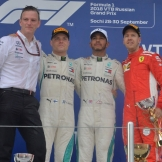 The Podium : Second Place Valtteri Bottas (Mercedes AMG F1 Team), Race Winner Lewis Hamilton (Mercedes AMG F1 Team) and Third Place Sebastian Vettel (Suceria Ferrari)