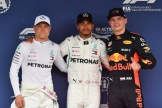 The Top Three Qualifiers : Second Place Valtteri Bottas (Mercedes AMG F1 Team), Pole Position Lewis Hamilton (Mercedes AMG F1 Team) and Third Place Max Verstappen (Red Bull Racing)