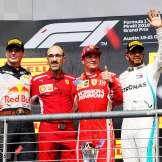 The Podium : Second Place Max Verstappen (Red Bull Racing), Race Winner Kimi Räikkönen (Scuderia Ferrari) and Third Place Lewis Hamilton (Mercedes AMG F1 Team)