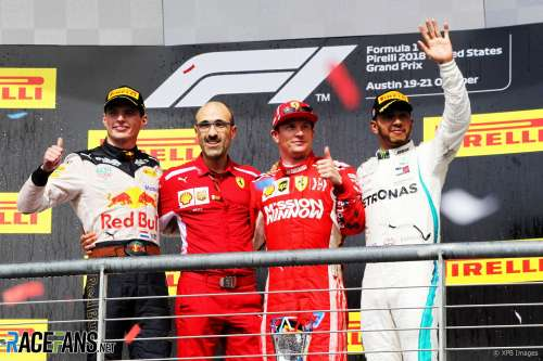 The Podium : Second Place Max Verstappen (Red Bull Racing), Race Winner Kimi Räikkönen (Scuderia Ferrari) and Third Place Lewis Hamilton (Mercedes AMG F1 Team)