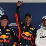 The Top Three Qualifiers : Second Place Max Verstappen (Red Bull Racing), Pole Position Daniel Ricciardo (Red Bull Racing), Third Place Lewis Hamilton (Mercedes AMG F1 Team)