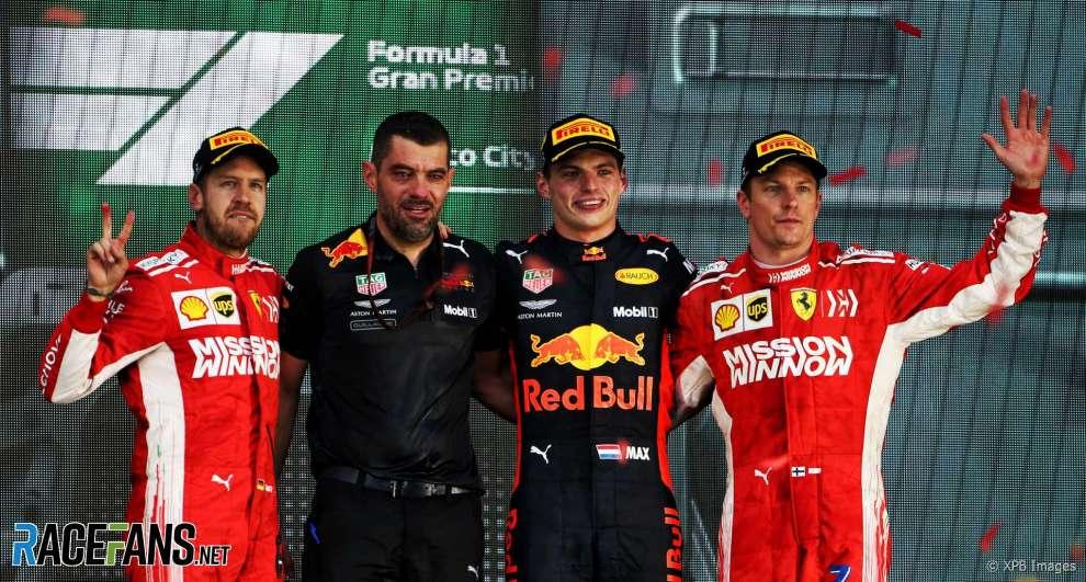 The Podium : Second Place Sebastian Vettel (Scuderia Ferrari), Race Winner Max Verstappen (Red Bull Racing) and Third Place Kimi Räikkönen (Scuderia Ferrari)