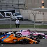 Sergio Pérez (Racing Point Force India F1 Team, VJM11), Romain Grosjean (Haas F1 Team, VF18) and Fernando Alonso (McLaren Renault, MCL33)