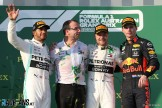 The Podium : Second Place Lewis Hamilton (Mercedes AMG F1 Team), Race Winner Valtteri Bottas (Mercedes AMG F1 Team) and Max Verstappen (Red Bull Racing)