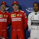 The Top Three Qualifiers : Second Place Sebastian Vettel (Scuderia Ferrari), Pole Position Charles Leclerc (Scuderia Ferrari) and Third Place Lewis Hamilton (Mercedes AMG F1 Team)