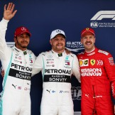 The Podium : Second Place Lewis Hamilton (Mercedes AMG F1 Team), Pole Position Valtteri Bottas (Mercedes AMG F1 Team) and Third Place Sebastian Vettel (Scuderia Ferrari)