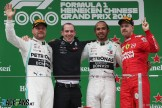 The Podium : Second Place Valtteri Bottas (Mercedes AMG F1 Team), Race Winner Lewis Hamilton (Mercedes AMG F1 Team) and Third Place Sebastian Vettel (Scuderia Ferrari)