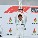The Podium : Second Place Lewis Hamilton (Mercedes AMG F1 Team), Race Winner Valtteri Bottas (Mercedes AMG F1 Team) and Third Place Sebastian Vettel (Scuderia Ferrari)