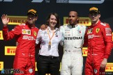 The Podium : Second Place Sebastian Vettel (Scuderia Ferrari), Race Winner Lewis Hamilton (Mercedes AMG F1 Team) and Third Place Charles Leclerc (Scuderia Ferrari)