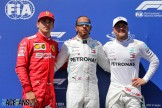 The Top Three Qualifiers : Third Place Charles Leclerc (Scuderia Ferrari), Pole Position Lewis Hamilton (Mercedes AMG F1 Team) and Second Place Valtteri Bottas (Mercedes AMG F1 Team)