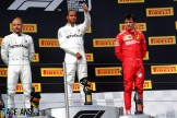 The Podium : Second Place Valtteri Bottas (Mercedes AMG F1 Team), Race Winner Lewis Hamilton (Mercedes AMG F1 Team) and Third Place Charles Leclerc (Scuderia Ferrari)