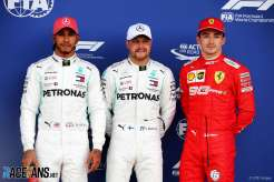 The Top Three Qualifiers : Second Place Lewis Hamilton (Mercedes AMG F1 Team), Pole Position Valtteri Bottas (Mercedes AMG F1 Team) and Third Place Charles Leclerc (Scuderia Ferrari)