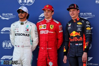 The Top Three Qualifiers : Second Place Lewis Hamilton (Mercedes AMG F1 Team), Pole Position Charles Leclerc (Scuderia Ferrari) and Third Place Max Verstappen (Red Bull Racing)