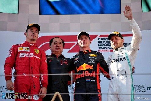 The Podium : Second Place Charles Leclerc (Scuderia Ferrari), Race Winner Max Verstappen (Red Bull Racing), Third Place Valtteri Bottas (Mercedes AMG F1 Team)