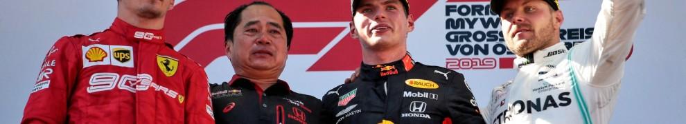 The Podium : Second Place Charles Leclerc (Scuderia Ferrari), Race Winner Max Verstappen (Red Bull Racing), Third Place Valtteri Bottas (Mercedes AMG F1 Team)
