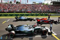 The Top Three Qualifiers : Second Place Valtteri Bottas (Mercedes AMG F1 Team), Pole Position Max Verstappen (Red Bull Racing) and Third Place Lewis Hamilton (Mercedes AMG F1 Team)