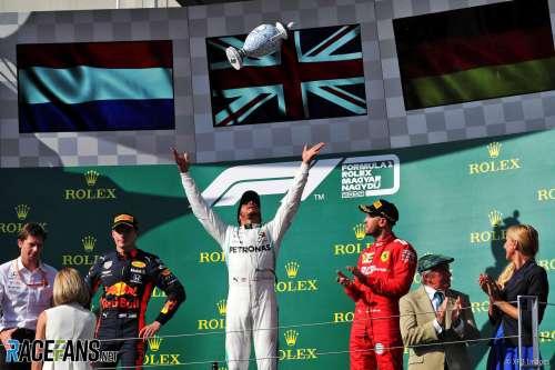 The Podium : Second Place Max Verstappen (Red Bull Racing), Lewis Hamilton (Mercedes AMG F1 Team) and Third Place Sebastian Vettel (Scuderia Ferrari)