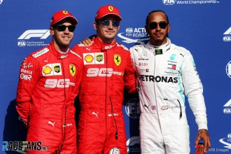 The Top Three Qualifiers : Second Place Sebastian Vettel (Scuderia Ferrari), Pole Position Charles Leclerc (Scuderia Ferrari) and Third Place Lewis Hamilton (Mercedes AMG F1 Team)