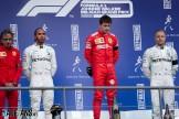 The Podium : Second Place Lewis Hamilton (Mercedes AMG F1 Team), Race Winner Charles Leclerc (Scuderia Ferrari) and Third Place Valtteri Bottas (Mercedes AMG F1 Team)