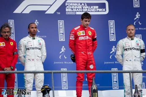The Podium : Second Place Lewis Hamilton (Mercedes AMG F1 Team), Race Winner Charles Leclerc (Scuderia Ferrari) and Third Place Valtteri Bottas (Mercedes AMG F1 Team)