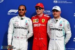 The Top Three Qualifiers : Second Place Lewis Hamilton (Mercedes AMG F1 Team), Pole Position Charles Leclerc (Scuderia Ferrari) and Third Place Valtteri Bottas (Mercedes AMG F1 Team)