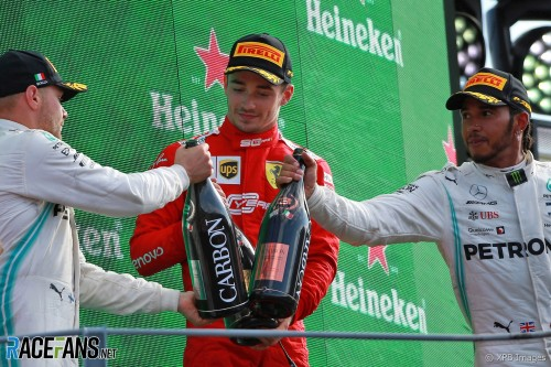 The Podium : Second Place Valtteri Bottas (Mercedes AMG F1 Team), Race Winner Charles Leclerc (Scuderia Ferrari) and Third Place Lewis Hamilton (Mercedes AMG F1 Team)