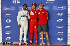 The Top Three Qualifiers : Second Place Lewis Hamilton (Mercedes AMG F1 Team), Pole Position Charles Leclerc (Scuderia Ferrari) and Third Place Sebastian Vettel (Scuderia Ferrari)