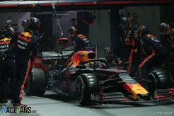 Pit Stop for Max Verstappen, Red Bull Racing, RB15