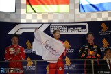 The Podium : Second Place Charles Leclerc (Scuderia Ferrari), Race Winner Sebastian Vettel (Scuderia Ferrari) and Third Place Max Verstappen (Red Bull Racing)