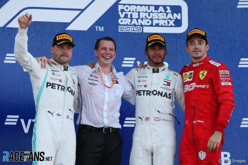The Podium : Second Place Valtteri Bottas (Mercedes AMG F1 Team), Race Winner Lewis Hamilton (Mercedes AMG F1 Team) and Third Place Charles Leclerc (Scuderia Ferrari)