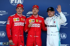 The Top Three Qualifiers : Second Place Charles Leclerc (Scuderia Ferrari), Pole Position Sebastian Vettel (Scuderia Ferrari) and Third Place Valtteri Bottas (Mercedes AMG F1 Team)