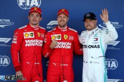 The Top Three Qualifiers : Second Place Charles Leclerc (Scuderia Ferrari), Pole Position Sebastian Vettel (Scuderia Ferrari) and Third Place Valtteri Bottas (Mercedes AMG F1 Team)