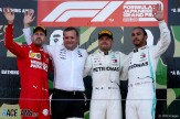 The Podium : Second Place Sebastian Vettel (Scuderia Ferrari), Race Winnner Valtteri Bottas (Mercedes AMG F1 Team) and Third Place Lewis Hamilton (Mercedes AMG F1 Team)