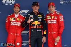 The Top Three Qualifiers : Third Place Sebastian Vettel (Scuderia Ferrari), Pole Position Max Verstappen (Red Bull Racing) and Second Place Charles Leclerc (Scuderia Ferrari)