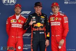 The Top Three Qualifiers : Third Place Sebastian Vettel (Scuderia Ferrari), Pole Position Max Verstappen (Red Bull Racing) and Second Place Charles Leclerc (Scuderia Ferrari)