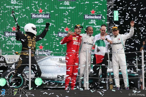 The Podium : Second Place Sebastian Vettel (Scuderia Ferrari), Race Winner Lewis Hamilton (Mercedes AMG F1 Team) and Third Place Valtteri Bottas (Mercedes AMG F1 Team)
