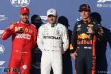 The Top Three Qualifiers : Second Place Sebastian Vettel (Scuderia Ferrari), Pole Position Valtteri Bottas (Mercedes AMG F1 Team) and Third Place Max Verstappen (Red Bull Racing)