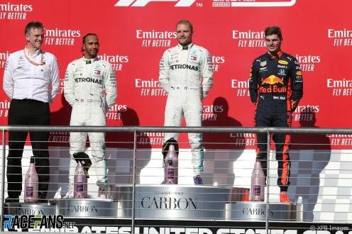 The Podium : Second Place Lewis Hamilton (Mercedes AMG F1 Team), Race Winner Valtteri Bottas (Mercedes AMG F1 Team) and Third Place Max Verstappen (Red Bull Racing)