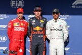 The Top Three Qualifiers : Second Place Sebastian Vettel (Scuderia Ferrari), Pole Position Max Verstappen (Red Bull Racing) and Third Place Lewis Hamilton (Mercedes AMG F1 Team)
